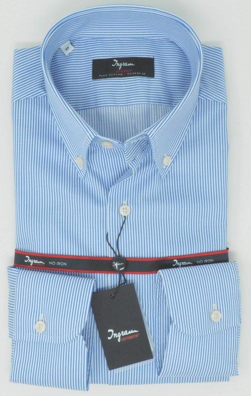 Shirt Men: STRIPED SPORTS NO IRON SHIRT