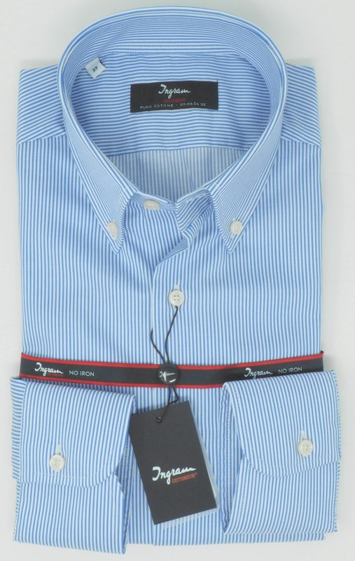 Shirt Men: STRIPED SPORTS NO IRON SHIRT