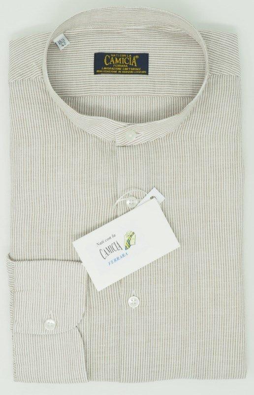 Shirt Men: LINEN AND COTTON MANDARIN COLLAR SHIRT